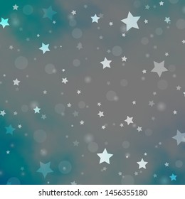 Light Pink, Blue vector pattern with circles, stars. Illustration with set of colorful abstract spheres, stars. Design for textile, fabric, wallpapers.