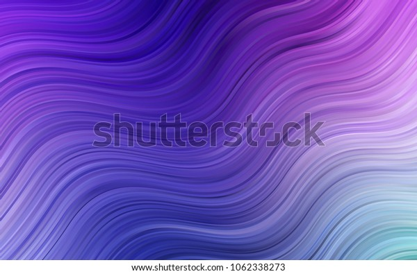 Light Pink, Blue vector pattern with curved circles. Blurred geometric sample with gradient bubbles.  Textured wave pattern for backgrounds.