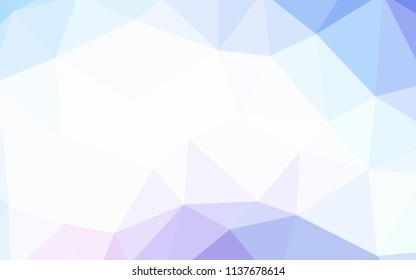 Light Pink, Blue vector polygonal background. Shining polygonal illustration, which consist of triangles. Brand new style for your business design.