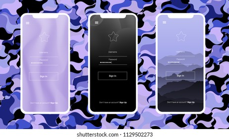 Light Pink, Blue vector style guide with iphone X. Colorful illustration of mobile phone with gradient. Beautiful layout for iPhones and apps.