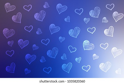 Light Pink, Blue vector texture with lovely hearts. Hearts on blurred abstract background with colorful gradient. Pattern for carnival, festival romantic leaflets.