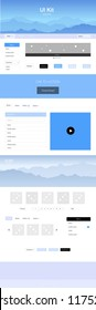 Light Pink, Blue vector web ui kit with mountains. Web ui kit with abstract gradient hills in its header. Template for website of outdoor activities.