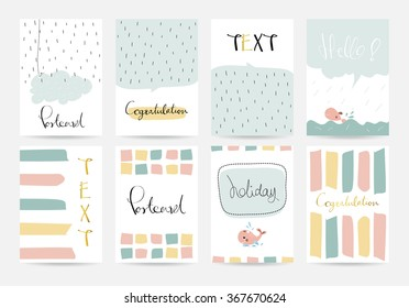 Light pink blue yellow collection for banners, Flyers, Placards and Posters with cloud,whale,rain and bubble