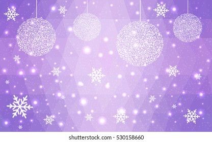 Light pink christmas postcard low polygon background. Vector illustration consisting of triangles. Abstract triangular polygonal origami or crystal design of New Year celebration.