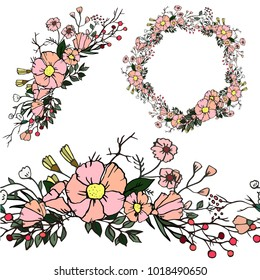 light pink floral wreath and elements