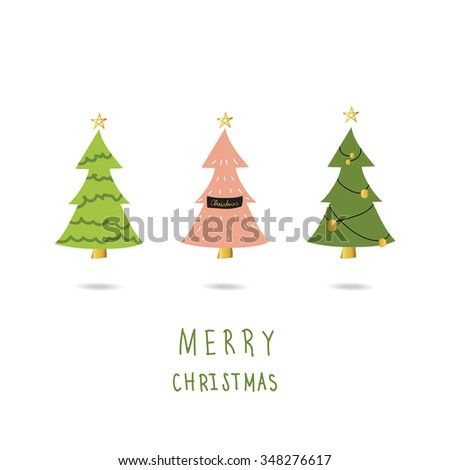 Light Pink Green Gold Christmas Tree Stock Vector Royalty Free