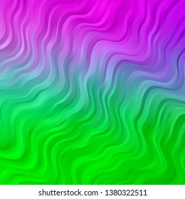 Light Pink, Green vector background with bent lines. Illustration in abstract style with gradient curved.  Pattern for busines booklets, leaflets