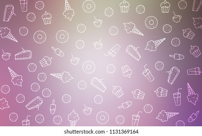 Light Pink, Green vector cover with set of confections. Blurred decorative design of desserts in doodle style. Pattern for ads of breakfast, lunch, dinner.
