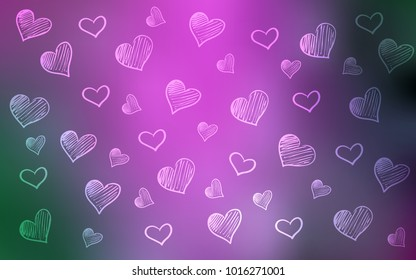 Light Pink, Green vector pattern with colorful hearts. Decorative shining illustration with hearts on abstract template. Pattern can be used for valentine's ad, booklets.