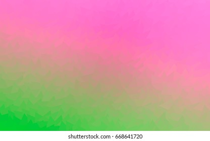 Light Pink, Green vector of small triangles on white background. Illustration of abstract texture of triangles. Pattern design for banner, poster, cover.