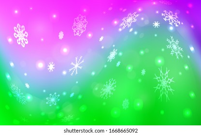 Light Pink, Green vector template with ice snowflakes. Decorative shining illustration with snow on abstract template. New year design for your ad, poster, banner.