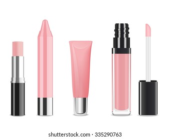Light pink lip gloss and lip stick isolated on white. Make-up set for lips. Vector illustration
