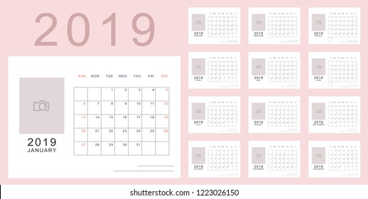 Light pink minimalistic calendar of new 2019 year with place for photo. Week starts in Sunday, twelve month calendar. Work and holiday events planner, block-almanac template