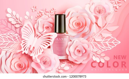 Light pink nail lacquer ads with flowers paper art decors in 3d illustration