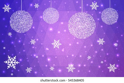 Light pink, purple christmas postcard low polygon background. Vector illustration consisting of triangles. Abstract triangular polygonal origami or crystal design of New Year celebration.