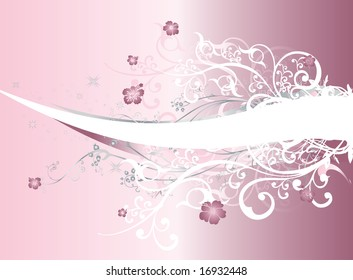 A light pink and purple gradient background with intricate flowers, white swirls and arabesques
