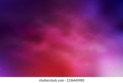 Light Pink, Red vector background with galaxy stars. Shining illustration with sky stars on abstract template. Pattern for futuristic ad, booklets.