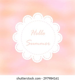 Light pink tone with retro vintage style and isolate in summer.Love hipster wedding card or bakery dessert menu