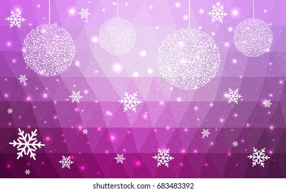 Light Pink vector christmas postcard low polygon background. Illustration consisting of triangles. Abstract triangular polygonal origami or crystal design of New Year celebration.