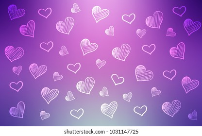 Light Pink vector layout with sweet hearts. Blurred decorative design in doodle style with hearts. Beautiful design for your business advert of anniversary.