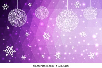 Light Pink vector low poly crystal background with snowflakes. Polygon christmas design pattern . Low poly illustration of New Year celebration.
