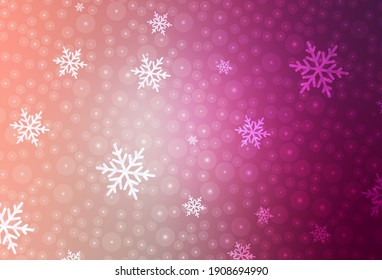 Light Pink vector pattern in Christmas style. Illustration with colorful snowflakes and Christmas balls. Template for lettering, typography.