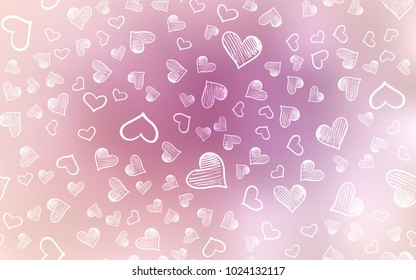 Light Pink vector pattern with colorful hearts. Blurred decorative design in doodle style with hearts. Pattern can be used for valentine's ad, booklets.
