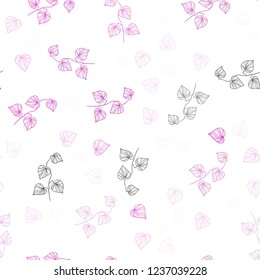 Light Pink vector seamless natural backdrop with leaves. An elegant bright illustration with leaves in Natural style. Pattern for design of fabric, wallpapers.