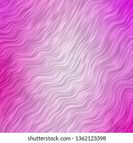 Light Pink vector template with curved lines. Colorful illustration in abstract style with bent lines. Pattern for busines booklets, leaflets