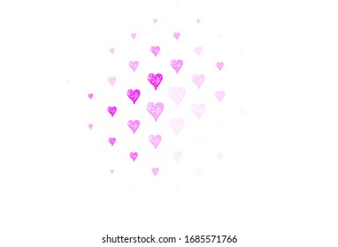Light Pink vector template with doodle hearts. Shining illustration with hearts on abstract template. Pattern for valentine's ad, booklets.
