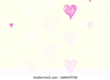 Light Pink, Yellow vector background with hearts. Smart illustration with gradient hearts in valentine style. Design for a business advert of anniversary.