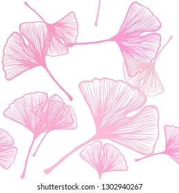 Light Pink, Yellow vector seamless elegant background with leaves. leaves on elegant natural pattern with gradient. Texture for window blinds, curtains.
