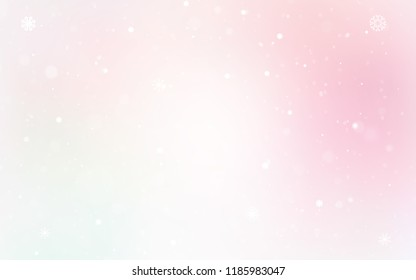 Light Pink, Yellow vector template with ice snowflakes. Decorative shining illustration with snow on abstract template. The pattern can be used for new year ad, booklets.