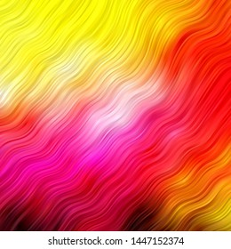 Light Pink, Yellow vector template with lines. Bright sample with colorful bent lines, shapes. Best design for your ad, poster, banner.