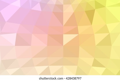 Light pink-yellow polygonal illustration, which consist of triangles. Triangular design for your business. Geometric background in Origami style with gradient.