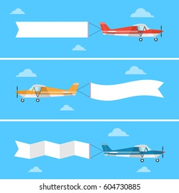Light plane pulling a banner in a flat style. Flying advertising banners. Airplane with message on the tail vector set.