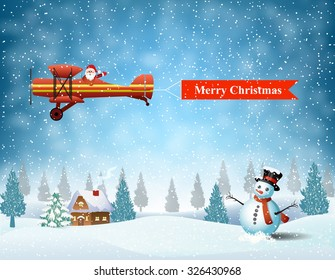 light plane with Santa claus  fly over the forest, house, snowman and pulled merry christmas banner .  Christmas card,invitation,background,design template