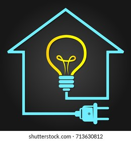 Light  and plug with cable electricity in house