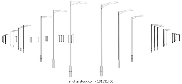 Light Poles In A Row Vector 01