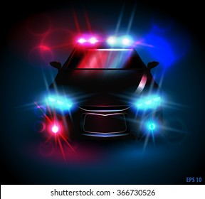 light from a police car on a black background, eps10 vector