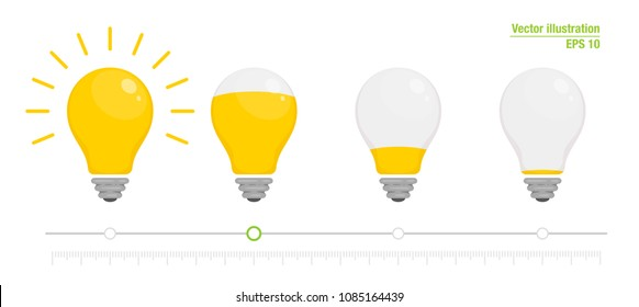 Light power indicator. Power switch. Energy charge level, full and low. Yellow glowing light bulb. Vector illustration for your design. Flat style