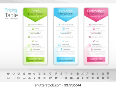 Light pricing list with 3 options. Icon set included