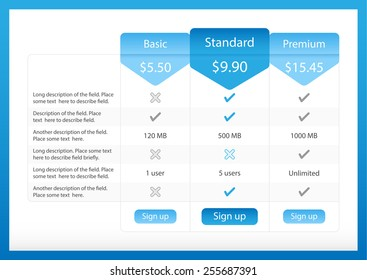 Light pricing table with 3 options and one recommended plan