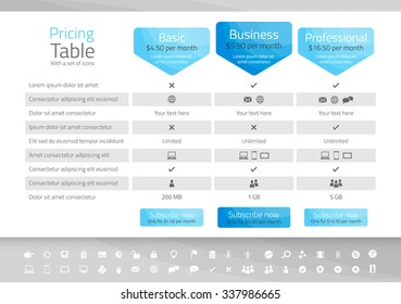 Light pricing table with 3 options. Icon set included