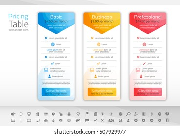 Light pricing table with 3 options in blue, yellow and red color scheme. Icon set included