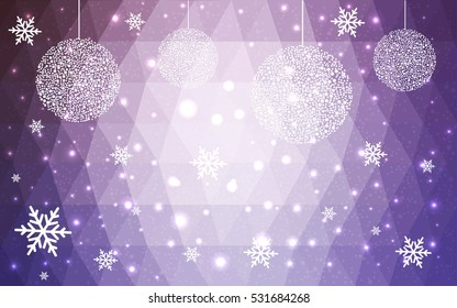 Light Purple christmas postcard low polygon background. Vector illustration consisting of triangles. Abstract triangular polygonal origami or crystal design of New Year celebration.