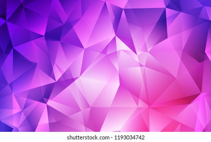 Light Purple, Pink vector backdrop with lines, triangles. Illustration with set of colorful triangles. Best design for your ad, poster, banner.