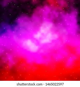 Light Purple, Pink vector background with small and big stars. Decorative illustration with stars on abstract template. Pattern for new year ad, booklets.