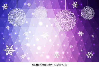 Light Purple, Pink vector christmas polygon background. Low poly Illustration consisting of triangles with snowflakes. Texture background of New Year celebration.