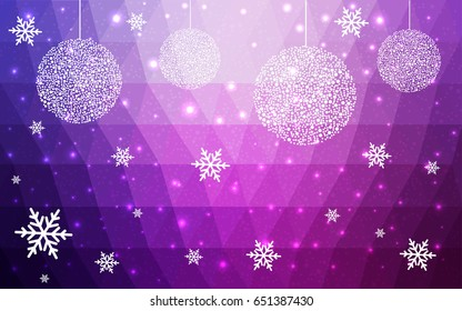 Light Purple Pink vector christmas postcard low polygon background. Illustration consisting of triangles. Abstract triangular polygonal origami or crystal design of New Year celebration.